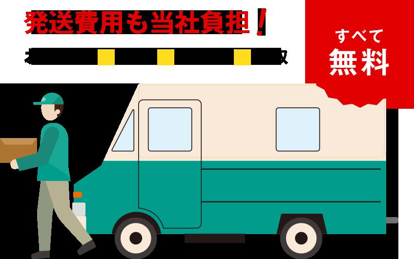 お申込み~発送~本査定~買取まで全て無料!